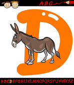 Letter d for donkey cartoon illustration — Stock Vector