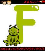 Letter f for frog cartoon illustration — Stock Vector