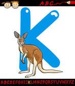 Letter k for kangaroo cartoon illustration — Stock Vector