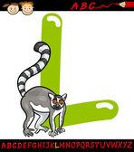 Letter l for lemur cartoon illustration — Stock Vector