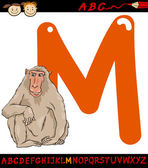 Letter m for macaque cartoon illustration — Stockvector