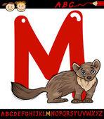 Letter m for marten cartoon illustration — Stock Vector