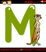 Letter m for meerkat cartoon illustration — Stock Vector
