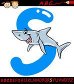 Letter s for shark cartoon illustration — Stock Vector