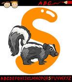 Letter s for skunk cartoon illustration — Stock Vector