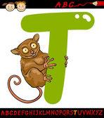 Letter t for tarsier cartoon illustration — Stock Vector