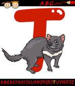 Letter t for tasmanian devil cartoon illustration — Stock Vector