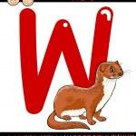 Letter w for weasel cartoon illustration — Stock Vector #51200215