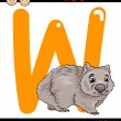 Letter w for wombat cartoon illustration — Stock Vector #51200225