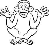 Chimpanzee ape cartoon coloring page — Stock Vector