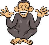 Chimpanzee ape animal cartoon illustration — Stock Vector