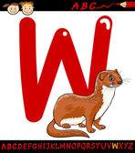 Letter w for weasel cartoon illustration — Stock Vector