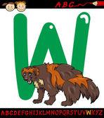 Letter w for wolverine cartoon illustration — Stock Vector