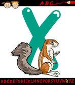 Letter x for xerus cartoon illustration — Stock Vector