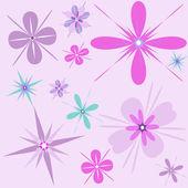 Retro fun flowers background — Stock Vector