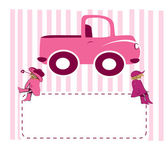 Two girls on truck — Stock Photo
