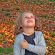 Cute little girl is playing with leaves in autumn park — Stock Photo #39213255