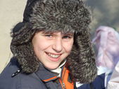 Teen boy winter portrait. — Stock Photo