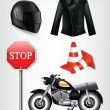 Motorcycle objects: helmet, jacket, traffic cones — Stock Vector