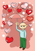 Boy holding umbrella — Stock Vector