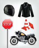 Motorcycle objects: helmet, jacket,  traffic cones — Stock Vector