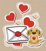 Carta de amor com cão engraçado — Vetorial Stock