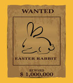 Old wanted poster with easter rabbit — Stock Vector