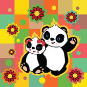 медведи панда валентина — Cтоковый вектор
