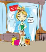 Girl Shopping — Stock Vector