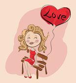 Valentine girl  with love balloon — Stock Vector