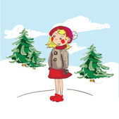Little Girl in Nature Landscape — Stock Vector