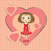 Girl with pink hearts — Stock Vector