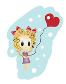 Little girl holding a heart shaped balloon — Stock Vector