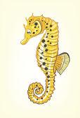 Yellow sea horse — Stock Vector