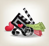 Movie objects with hearts — Stock Vector