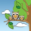 Funny little owls on branch — Stock Vector
