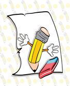 Paper, pencil and eraser — Stockvektor