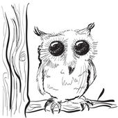 Owl on a tree sketch — Stock Vector