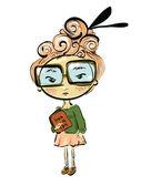 Student girl sketch — Vector de stock