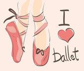 I love Ballet illustration — Stock Vector