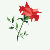 Beautiful origami rose — Stock Vector