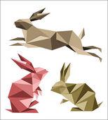 Origami rabbit poses — Stock Vector