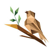 Origami sparrow sitting on  branch — Stock Vector
