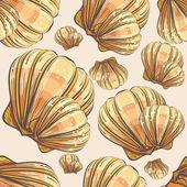 Scallop seashell seamle — Stock Vector