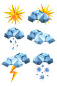 Origami weather symbols — Stock Vector