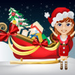 Christmas girl with Santa Claus Sleigh — Stock Vector #45272891