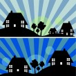 Two landscapes with houses — Stock Vector #45272979