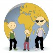 Three kids with earth globe — Stock Vector #45273321
