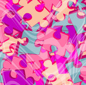 Pink jigsaw puzzle pieces — Stock Vector