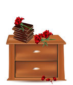 Wooden bedside with books and roses — Stock Vector